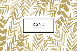 Carton d'invitation mariage jaune feuillage or