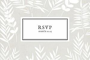 Carton d'invitation mariage marron feuillage gris