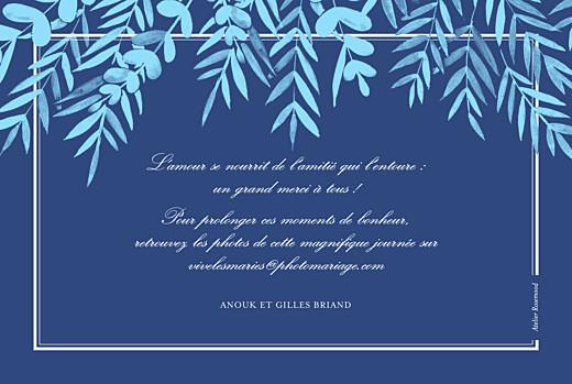 Carte de remerciement mariage Feuillage bleu