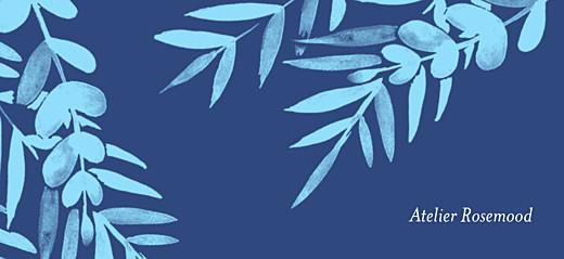 Etiquette de mariage Feuillage bleu