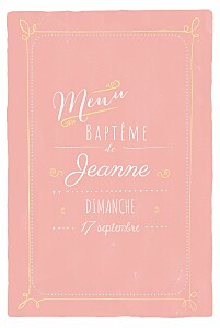 Menu de baptême moderne happy day corail