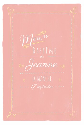 Menu de baptême Happy day corail - Page 1