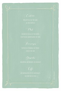 Menu de baptême Happy day vert