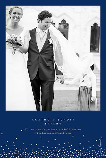 Carte de remerciement mariage Confetti bleu & blanc - Page 2