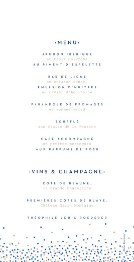 Menu de mariage Confetti bleu - Page 2