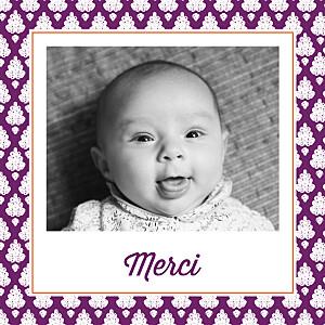 Carte de remerciement autour du monde merci batik photo violet