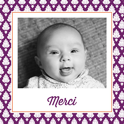 Carte de remerciement Merci batik photo violet finition