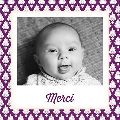 Carte de remerciement Merci batik photo violet finition
