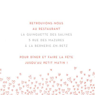 Carton d'invitation mariage Ronde de cœurs rouge finition