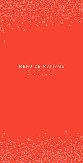 Menu de mariage Ronde de cœurs (4 pages) rouge