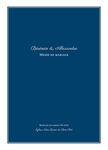 Livret de messe mariage Carré chic bleu marine