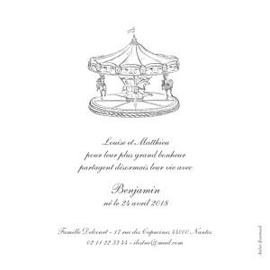 Faire-part de naissance louise pianetti carrousel photo blanc