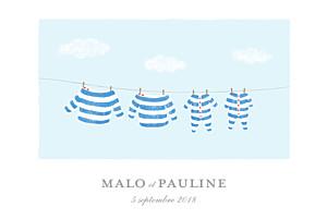 Faire-part de naissance Fil à linge marinières jumeaux bleu