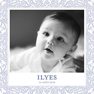 Faire-part de naissance clémence gantois oriental photo bleuet