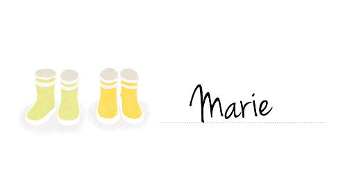 Marque-place Baptême Balade jumeaux jaune