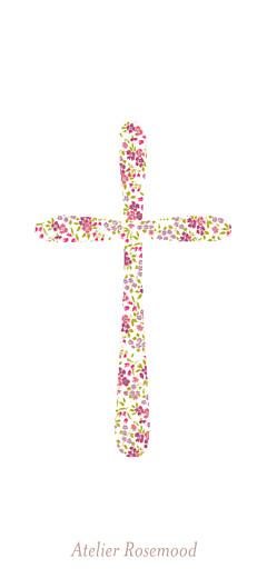 Etiquette de baptême Croix liberty rose - Page 2
