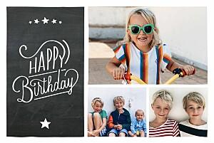 Carte d'anniversaire fille ardoise noir