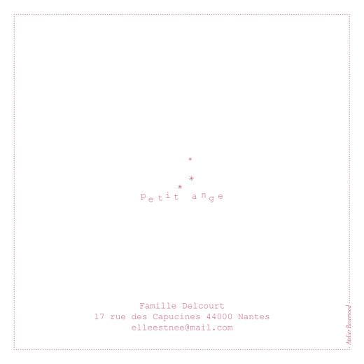 Faire-part de naissance Moulin à vent carré (4 pages) rose blanc