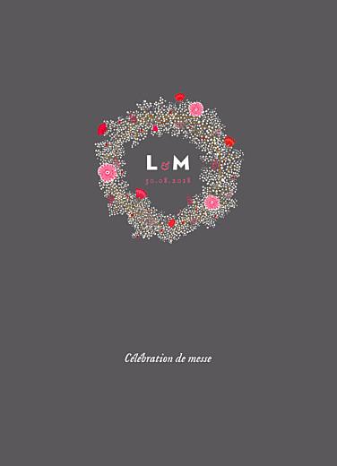 Livret de messe mariage Couronne de fleurs gris & rose
