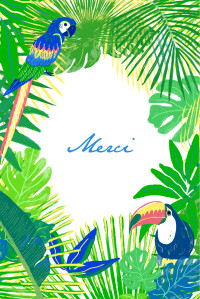 Carte de remerciement Merci jungle photo vert