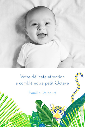 Carte de remerciement Merci jungle photo vert - Page 2