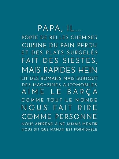 Affichette Justifié fête des pères bleu canard - Page 1