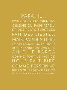 Affichette Justifié fête des pères moutarde