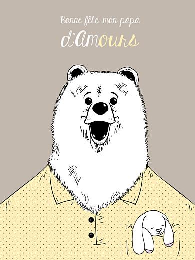 Affichette Papa ours jaune