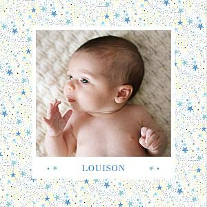 Faire-part de naissance fille liberty étoiles photos 4 pages bleu