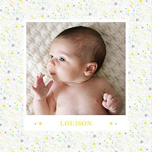 Faire-part de naissance gris liberty étoiles photos 4 pages jaune