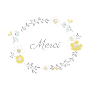 Carte de remerciement Couronne de fleurs photo blanc