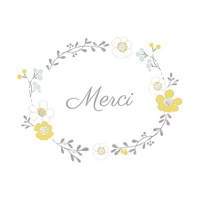 Carte de remerciement Couronne de fleurs photo blanc finition