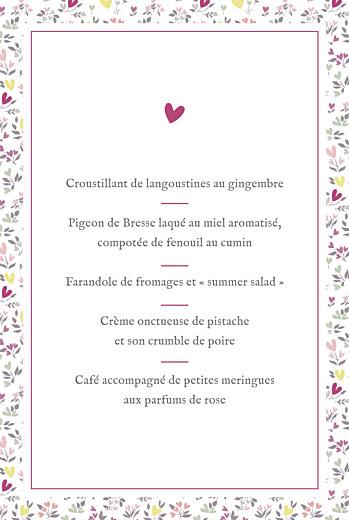 Menu de baptême Liberty cœur prune - Page 3