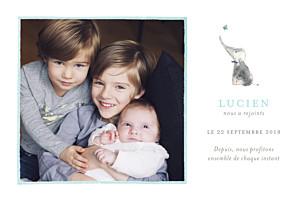 Faire-part de naissance Éléphant aquarelle photo bleu