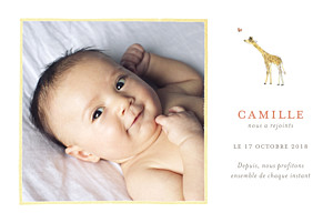 Faire-part de naissance Girafe aquarelle photo blanc