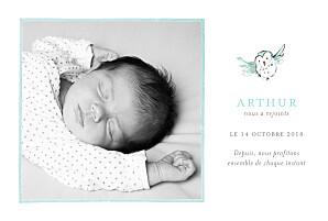 Faire-part de naissance Hibou aquarelle photo blanc