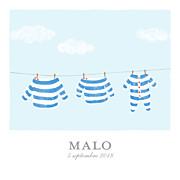 Faire-part de naissance Fil à linge marinière triptyque bleu page 1