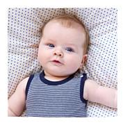 Faire-part de naissance Fil à linge marinière triptyque bleu page 5