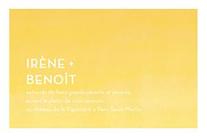 Carton d'invitation mariage Aquarelle jaune
