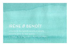 Carton d'invitation mariage Aquarelle bleu