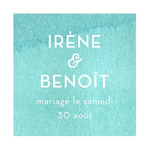 Etiquette de mariage Aquarelle bleu