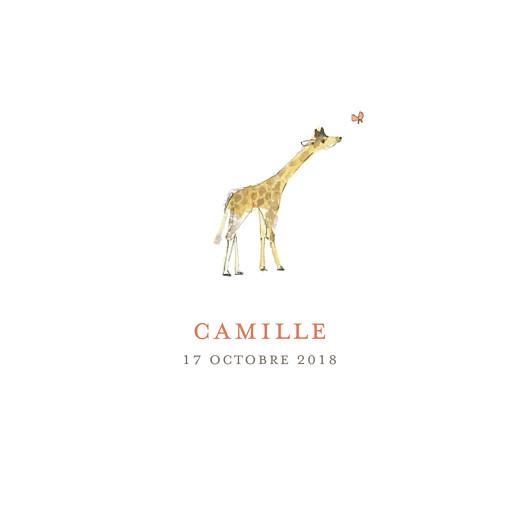 Faire-part de naissance Girafe aquarelle 2 photos blanc