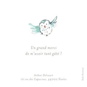 Carte de remerciement Petit hibou aquarelle blanc