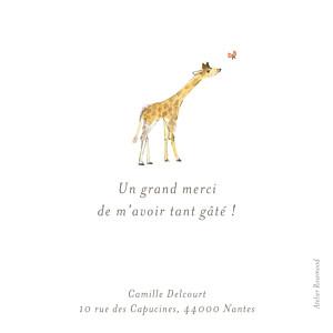 Carte de remerciement animaux petite girafe aquarelle blanc