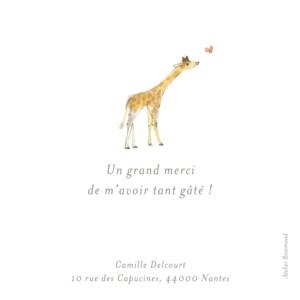 Carte de remerciement Petite girafe aquarelle blanc