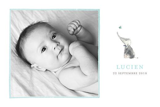 Faire-part de naissance Éléphant aquarelle 5 photos bleu
