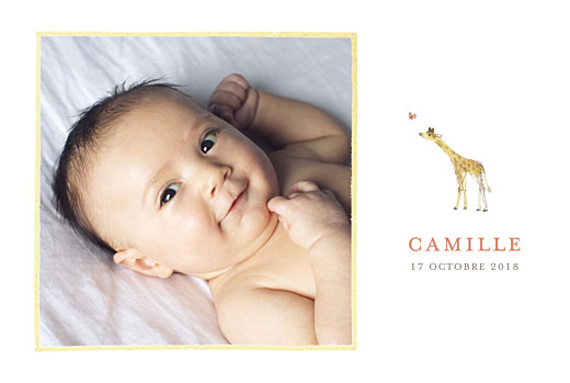 Faire-part de naissance Girafe aquarelle 5 photos blanc