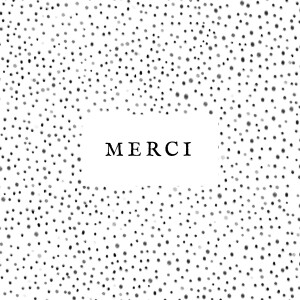 Carte de remerciement Merci little dots noir et blanc