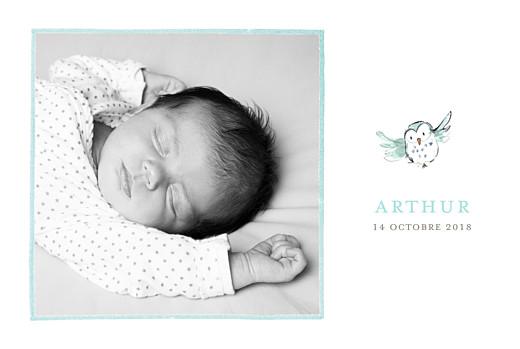 Faire-part de naissance Hibou aquarelle 5 photos blanc