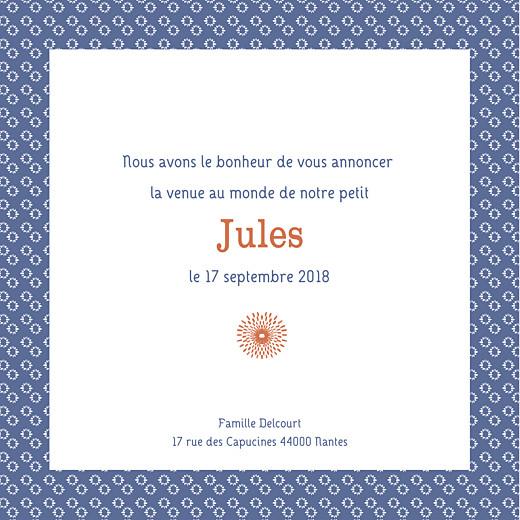 Faire-part de naissance Wax orange & bleu - Page 3